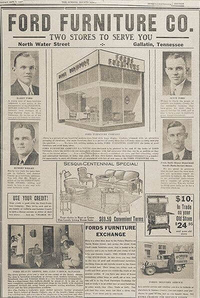 Old publication ad for Ford's Furniture